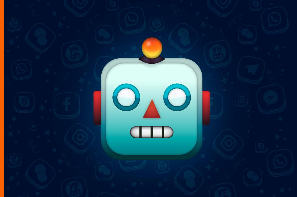 Эмодзи голова робота на обложке обновления ботов в Еадеске