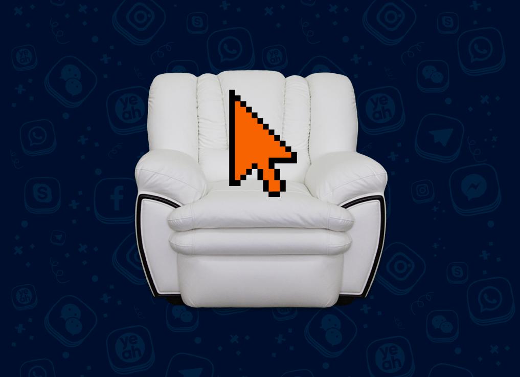 Белое дорогое кресло, на котором сидит оранжевый курсор мышки
